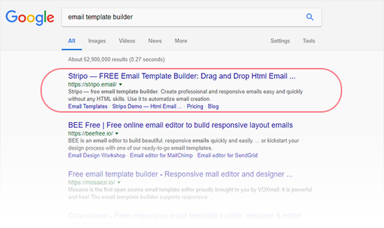 Search query &laqou;email template builder&raqou; in the top
