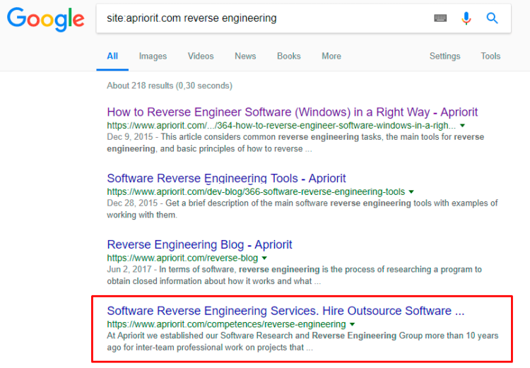 Relevance of website documents by «Reverse Engineering» query for Apriorit domain