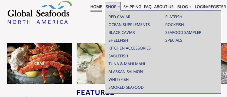 The Menu of Globalseafoods Website