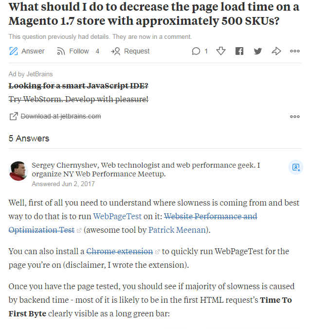Example of a question on Quora