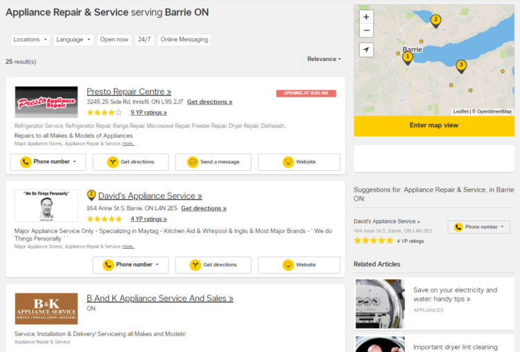 Yellowpages results page screenshot