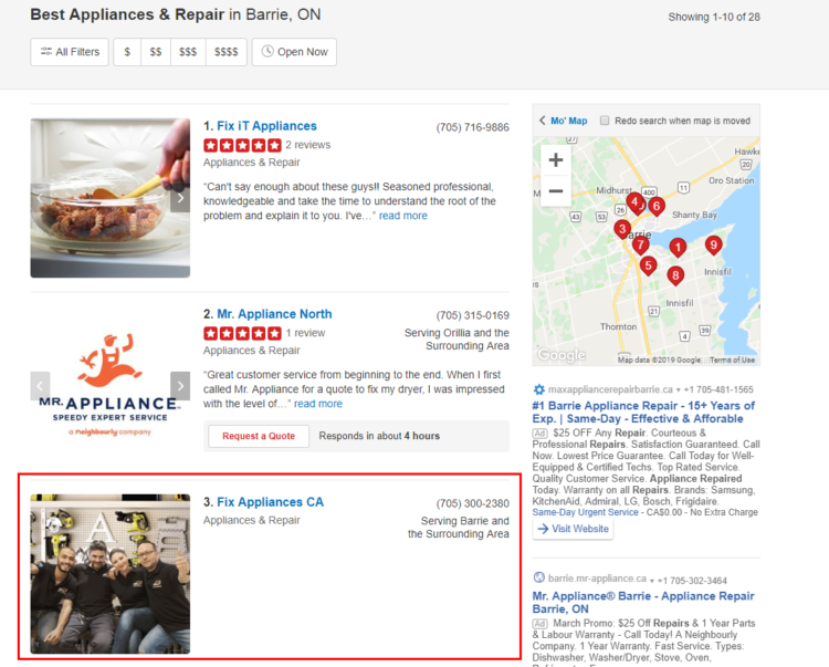 Yelp Interface Screenshot